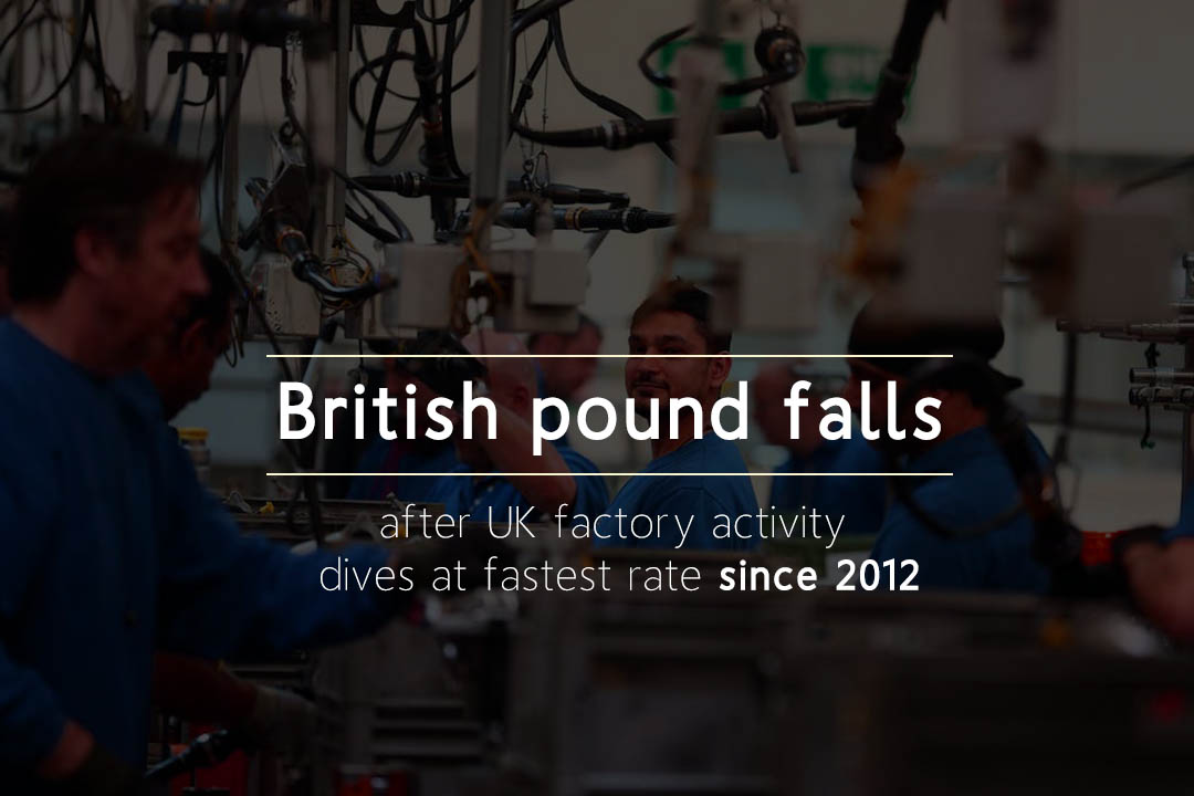 British Pound fell to 47.4 after United Kingdom factory activity dives