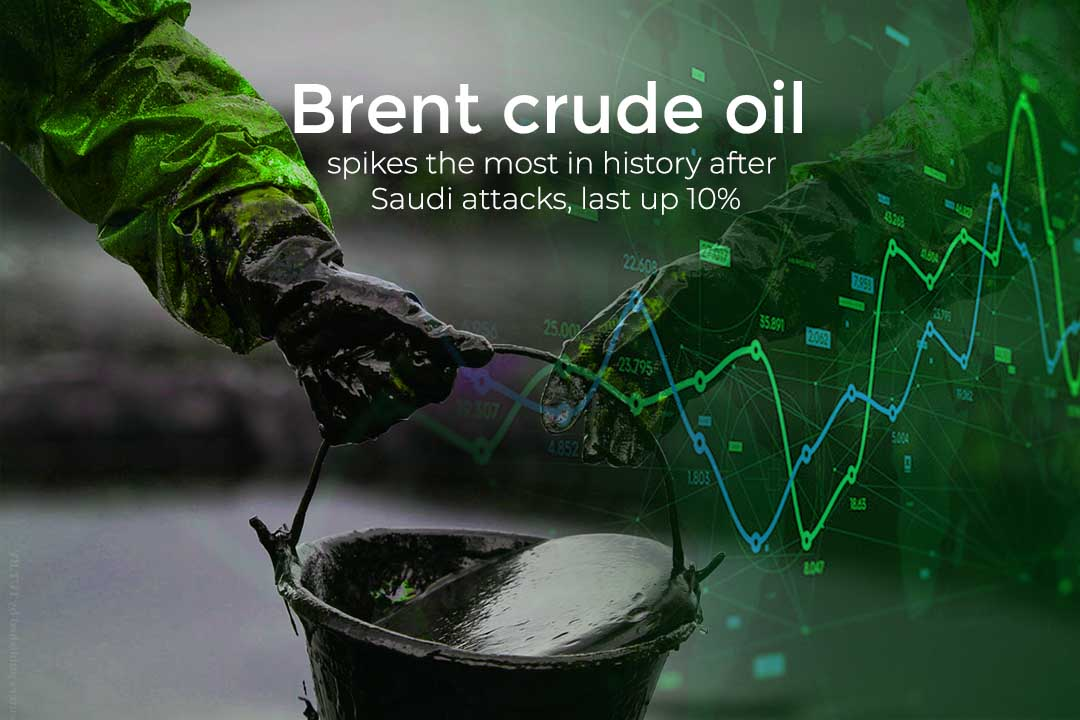 Price of Brent Crude Oil Increases at record 10% after Saudi Attacks