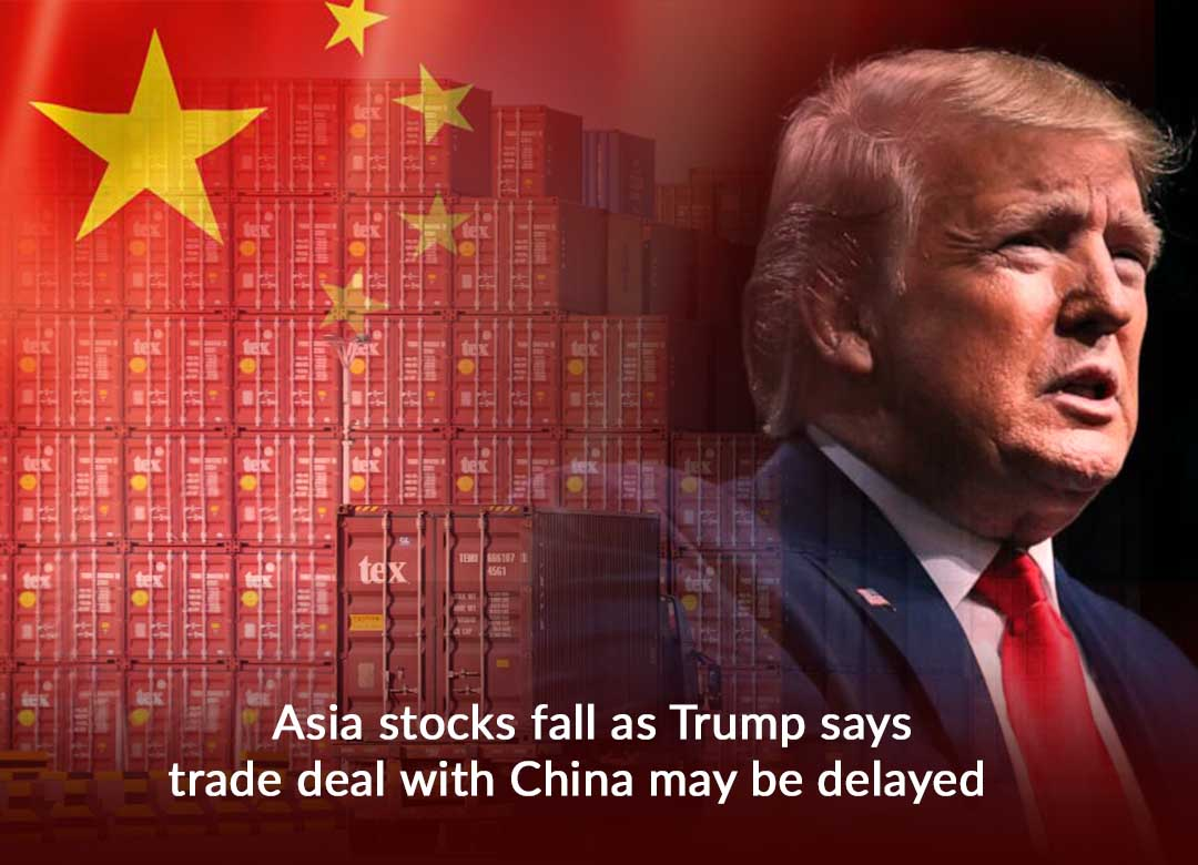 Asia Stocks drop as Trump announce Delay in Trade Deal with China