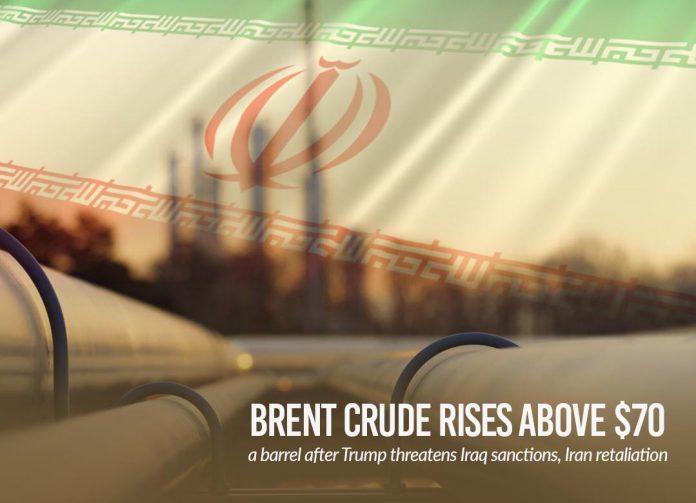Brent Crude upsurge over $70 per barrel after Trump threatens Iraq