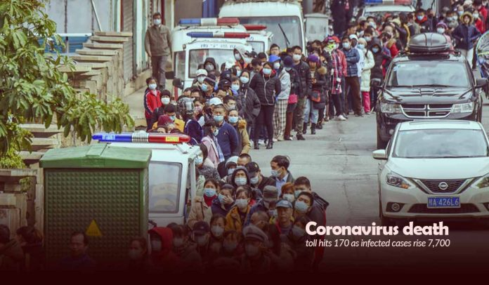 Coronavirus death toll raised to 170 as infected cases rise 7,700