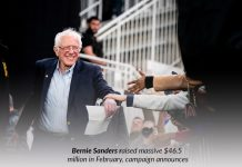 Sanders raised up around $46.5 million in Feb for campaign