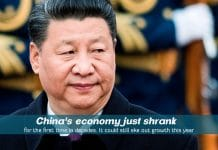 The economy of China Shrank for the first time in decades