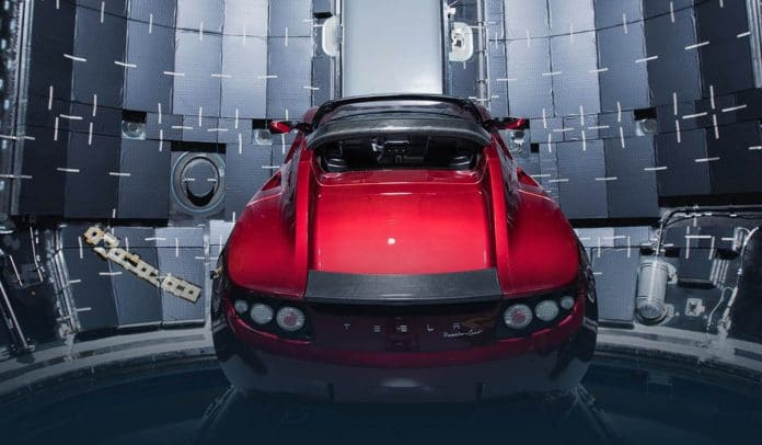Tesla roadster of SpaceX first close approach with Mars